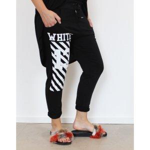 lässige Jogpants Sweatpants Sommer Jogger Hose schwarz Print weiß Baumwolle M