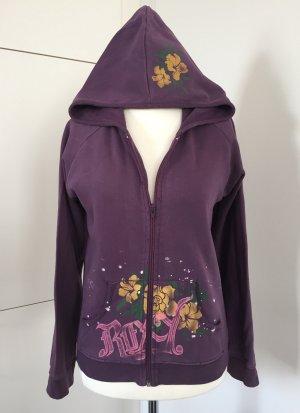 Lässige Kapuzen-Sweatjacke im Used-Look mit Flowerprint von Roxy - Größe M