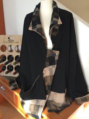Lässige Lagenlook Jacke Stylisch mit Karodesign *Maria-A* 44-48 Woll/Viskose Mix