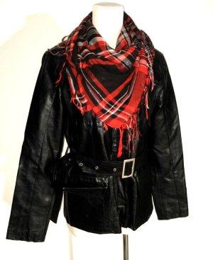 lässige Leder - Bikerjacke in schwarz mit Gürtel & Tuch Gr. M