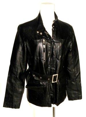 lässige - Leder - Bikerjacke - schwarz mit Gürtel & Tuch von Forever 21 - Gr. M