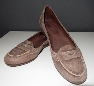 Slip-on Shoes grey brown leather