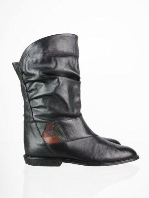 Lässige Leder Vintage Stiefel mit bunter Verzierung 39