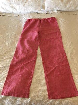Zara Pantalón de lino rojo frambuesa