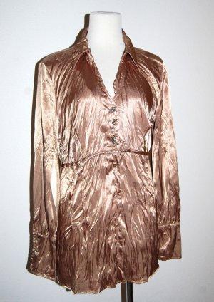 lässige - Long - Bluse - Tunika - taupe - glänzend von Edelmarke Bottega - Gr. M