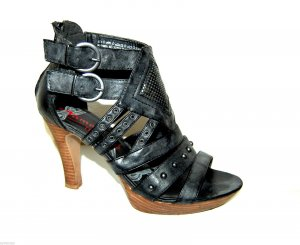 Tamaris Platform High-Heeled Sandal anthracite leather