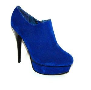 lässige Plateau - Stiefelette - Ankle Boots blau von Jumex - Gr. 39