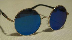 Gafas de sol redondas color oro-azul aciano vidrio