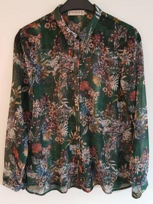 Lässige waldgrüne Bluse in Seidenoptik