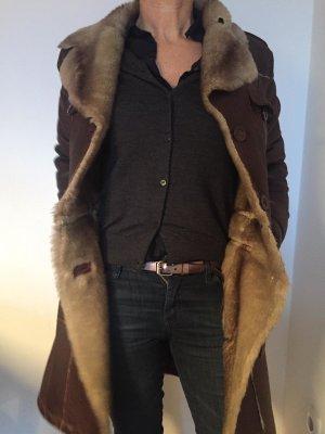 Virmani Leather Coat brown fake fur