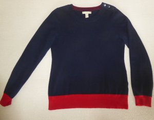 Lässiger Langarm-Pullover mit Rundkragen in Blau-Rot