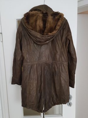 Mauritius Leather Coat brown-bronze-colored leather