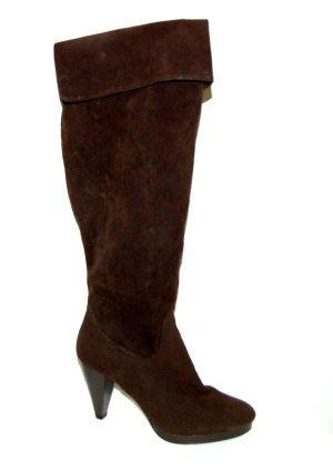 lässiger - Lederstiefel mit Stulpe - braun - Made in Italy - Gr. 38