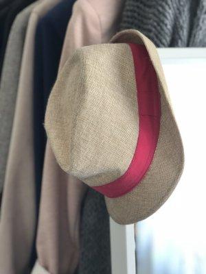 Sombrero de paja marrón claro-magenta