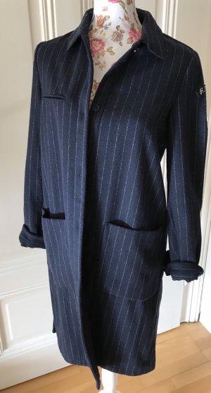 Zara Manteau en laine bleu foncé-blanc