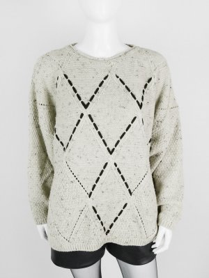 Knitted Sweater black-beige mixture fibre