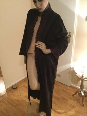 Manteau long brun laine