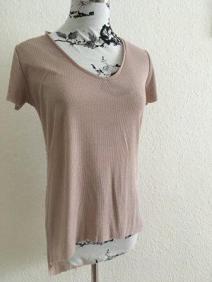 Lässiges Altrosa Shirt mit V-Ausschnitt