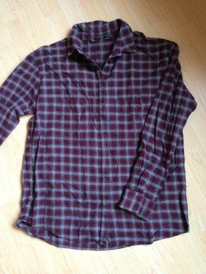 Zara Trafaluc Camisa de leñador púrpura-gris Algodón