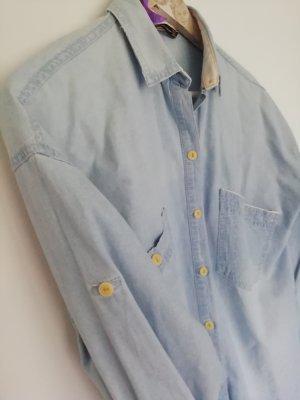 Zara Trafaluc Camicia denim blu acciaio-azzurro