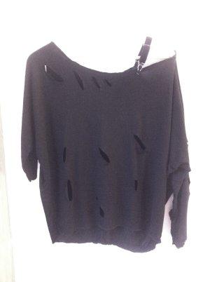 Camisa de un solo hombro negro-color plata