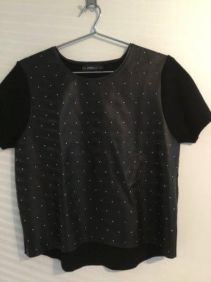 Lässiges Leder - Nieten Shirt von ZARA Gr. L