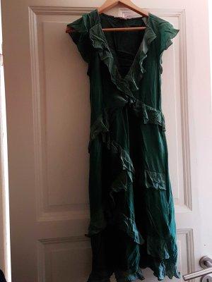 lässiges Rüschenkleid in grün mit eingen. Unterrock