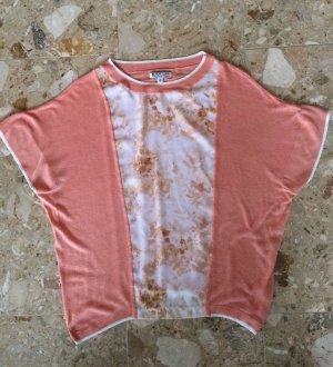 Lässiges Shirt mit Blüten Druck, Feinstrick, apriko