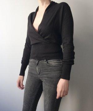 Lässiges Top für high waist Hosen / Schwarz / Seide-Wolle-Mischgewebe