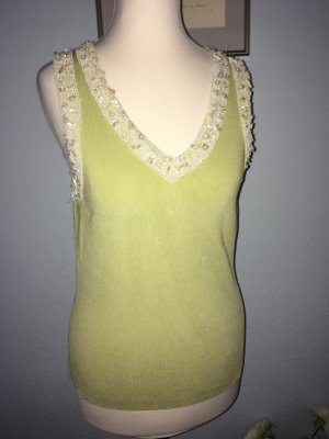 Galeries lafayette Knitted Top pale green-white