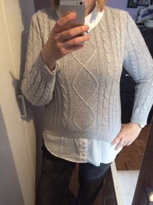Atmosphere Pull tricoté blanc-gris clair