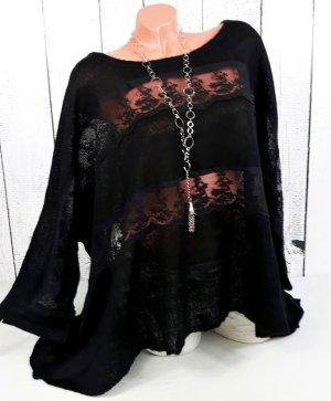 Lagenlook Pullover Überwurf Strick Tunika mit Spitze schwarz Gr. 46 48 50