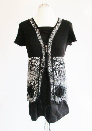 Haut long blanc-noir tissu mixte