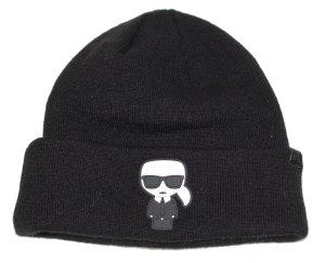 Karl Lagerfeld Chapeau en tricot noir