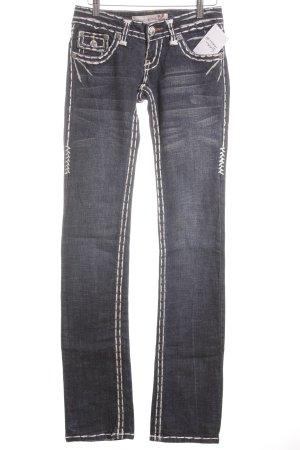 Laguna Beach Slim Jeans weiß-dunkelblau extravaganter Stil