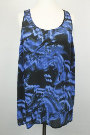 Lala Berlin Bluse Seidenbluse Gr. XS blau schwarz ärmellos