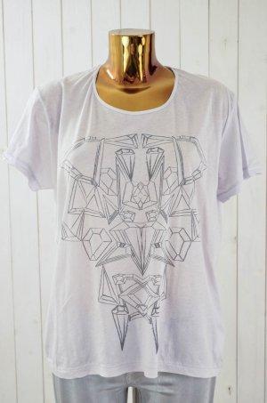 LALA BERLIN Damen T-Shirt Rundhals Kurzarm Flieder Grau Baumwolle Gr.S