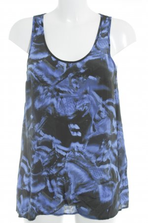 Lala Berlin Top in seta nero-blu motivo astratto stile casual
