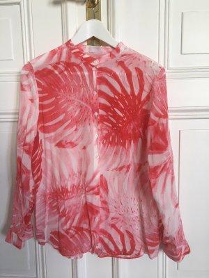 Lala Berlin Tunique-blouse blanc-rouge clair soie