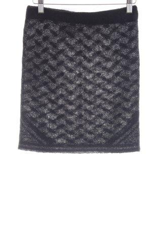 Lala Berlin Gonna lavorata a maglia nero-argento motivo astratto stile festa