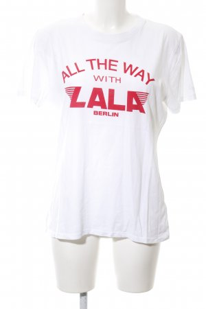 Lala Berlin T-shirt wit-rood gedrukte letters casual uitstraling