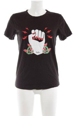 Lala Berlin T-Shirt schwarz platzierter Druck Casual-Look