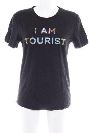 Lala Berlin T-shirt noir lettrage imprimé style décontracté