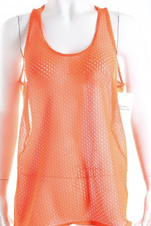 Lala Berlin Tanktop neonorange Lochstrickmuster Party-Look