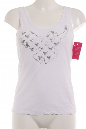 Lala Berlin Tank Top white-silver-colored placed print casual look
