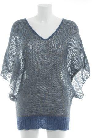Lala Berlin V-Ausschnitt-Pullover neonblau-beige meliert Casual-Look
