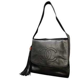 Lamb Leather Black Fringe Shoulder Bag