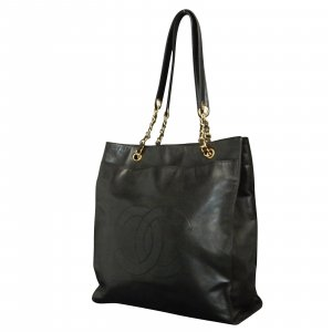 Lamb Skin Leather Black Tote bag