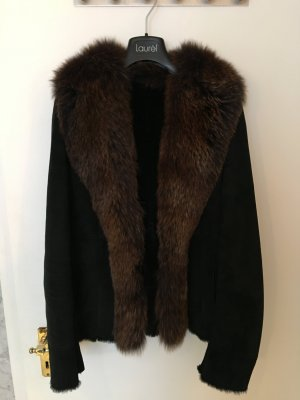 Giacca di pelliccia nero Pelle