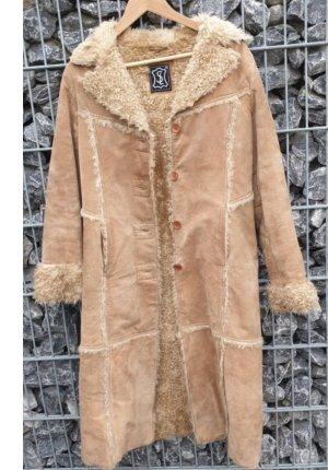 Abrigo de cuero marrón claro-camel